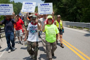 The late Larry Gibson (right) and others during the 2011 March on Blair Mountain