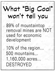 Mountaintop removal reclamation FAIL - What 'big coal' won't tell you:  89% of mine sites are NOT used for economic development; 10% of the region, 500 mountains, and 1,160,000 acres destroyed by mountaintop removal mining.