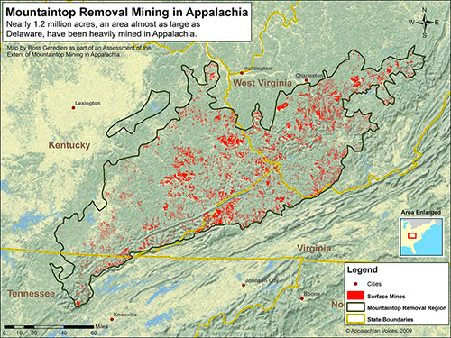 Chart showing where mountaintop removal is taking place in central and southern Appalachia